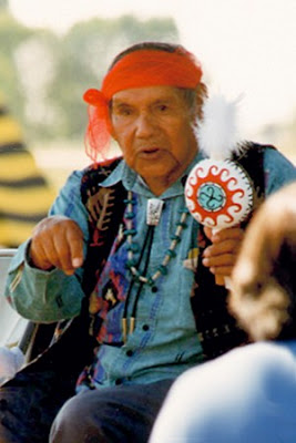Thomas Banyacya, Kykotsmovi Hopi Nation, who delivered an address to the united nations general assembly 10 december 1992. Image courtesy of the united nations permanent forum for Indigenous peoples information network.