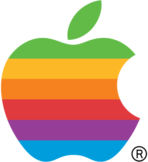 The old style apple logo, used until 1999. Image courtesy of Wikimedia Commons.