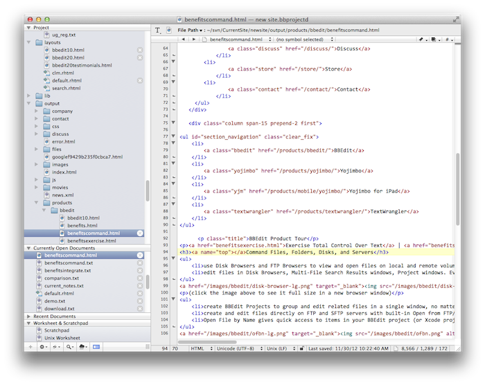Screen grab of bbedit, courtesy of bare bones software.
