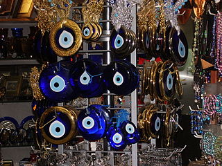 A selection of amulets for blocking the baleful influence of the evil eye.