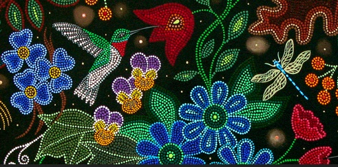 Snippet from the beadwork style painting featured as the title image of artist Christi Belcourt's website, august 2020.