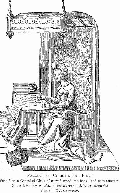 Woodcut portrait of the poet Christine de Pisan, courtesy of Wikimedia Commons.