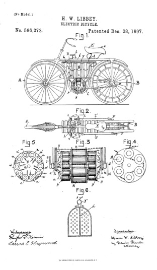 Patent drawing for an electric bicycle, 1897.