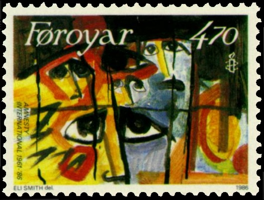 1986 Faroe islands stamp honouring amnesty international by Eli Smith.