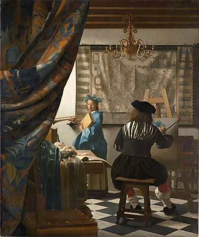 Apparently a 'genre' painting by Jan Vermeer, called 'The Art of Painting.'