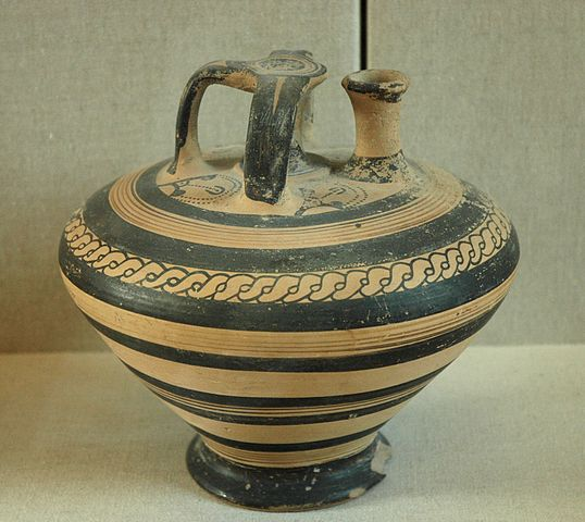 Wikimedia Commns image of a Mycenaean stirrup jar held at the Louvre, number A019201.