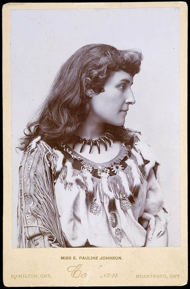 Publicity photograph of E. Pauline Johnson, from around 1895, taken by Charles Scriber Cohran.
