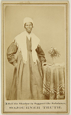 One of Sojourner Truth's calling cards, currently held by the berkeley art museum and pacific film archive in california.