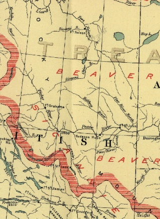 Clipping from the reproduction of a Treaty 8 1900 era map.