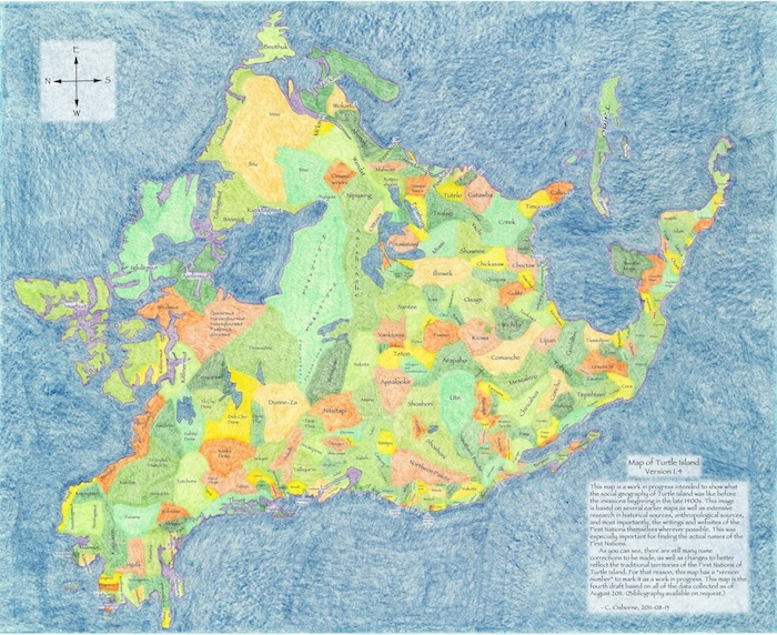 Very reduced sample image of the Turtle Island Map, click to enlarge.