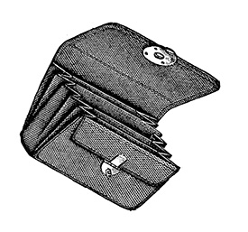 Steampunk clip art is always useful. This snippet is an empty wallet.