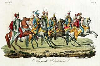 An illustration of hungarian knights by Giulio Ferraio published in 1831.
