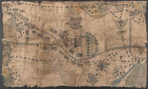 17th century Techialoyan Indigenous land record manuscript map, courtesy of the u.s. library of congress.