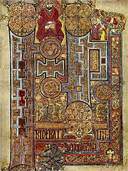 Public domain photograph of an opening page from one of the christian gospels included in the Book of Kells.
