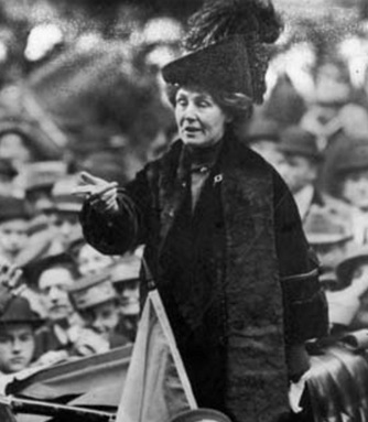 Feminist and women's suffrage activist Emmeline Panhurst gives a speech in 1913.