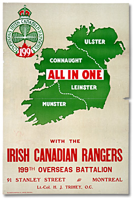 World war one recruitment poster from canada directed at irish immigrants and descendants, archives of ontario war poster collection (C 233-2-4-0-198).