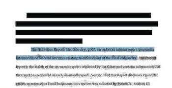 An idealized snapshot of part of a redacted document.