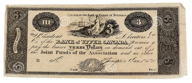 1820 three dollar bill issued by the bank of canada in montréal.